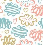 Leuk getrokken patroon met wolken in pastelkleuren Vector getrokken textuur royalty-vrije stock afbeelding