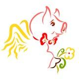Leuk gevleugeld varken met een bloem, romantisch vrolijk dier vector illustratie