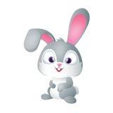 Leuk Grappig Gray Bunny Smiling vector illustratie