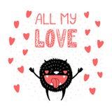 Leuk grappig monster in liefde stock illustratie