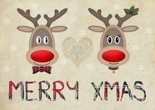 Leuk grappig rendier in liefde op oude document achtergrond met tekst vrolijke Kerstmis Stock Afbeeldingen