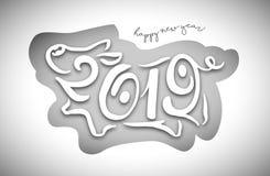 Leuk grappig varken Gelukkig Nieuwjaar Chinees symbool van het jaar van 2019 Uitstekende feestelijke giftkaart Vector illustratie royalty-vrije illustratie