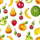 Leuk Grappig Vruchten Naadloos Patroon, Peer, Apple, Sinaasappel, Kers, Citroen, Watermeloen, Banaankarakters met Grappige Gezich vector illustratie