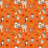 Leuk Halloween-Krabbel Naadloos Patroon Royalty-vrije Stock Afbeeldingen