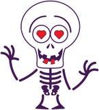 Leuk Halloween-skelet in liefde Stock Fotografie