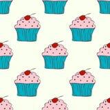 Leuk hand getrokken cupcake naadloos patroon Stock Afbeeldingen