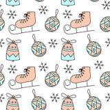 Leuk hand getrokken de winter naadloos patroon met Kerstmisballen, sneeuwvlokken, Kerstmisklok, schaatsen vector illustratie