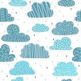 Leuk hand getrokken naadloos patroon met wolken Grappige achtergrond Royalty-vrije Stock Foto