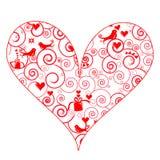 Leuk hart met swirly patroon Royalty-vrije Stock Afbeelding