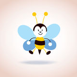 Leuk het beeldverhaalkarakter van de bijenmascotte Stock Afbeelding