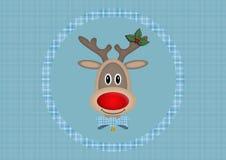 Leuk het glimlachen rendier in cirkel op lichtblauwe achtergrond met plaidpatroon, Kerstkaartontwerp Royalty-vrije Stock Foto