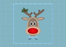 Leuk het glimlachen rendier in vierkant op lichtblauwe achtergrond met plaidpatroon, Kerstkaartontwerp Stock Foto's