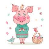 Leuk het glimlachen varken in een turkooise sweater met een ornament stock afbeelding