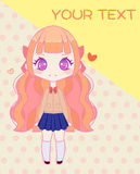 Leuk het meisjesmalplaatje van de animeschool Stock Afbeelding