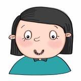 Leuk het meisjesportret van beeldverhaalillusration vector illustratie