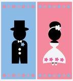 Leuk het ontwerp Vectormalplaatje van de huwelijkskaart Royalty-vrije Illustratie