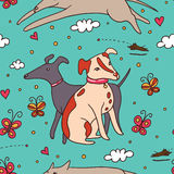 Leuk Honden Blauw Naadloos Patroon Royalty-vrije Stock Afbeeldingen