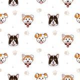 Leuk honden dierlijk naadloos vectorpatroon Stock Foto's