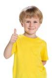 Leuk houdt weinig jongen zijn duim tegen Stock Fotografie