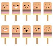 Leuk Ijs Lolly Faces met Uitdrukkingen Vector Illustratie