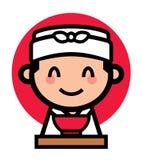 Leuk Japans chef-kokkarakter Royalty-vrije Stock Foto's