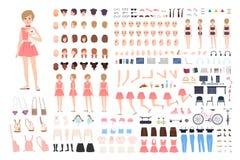 Leuk jong meisje DIY of aannemersuitrusting Bundel van lichaamsdelen in verschillende houdingen, gelaatsuitdrukkingen, meisjesach royalty-vrije illustratie