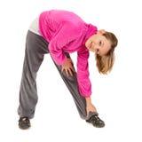 Leuk jong meisje in roze sportjasje stock fotografie