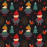 Leuk jongen en meisje die in de winter bos naadloos patroon lopen op zwarte achtergrond royalty-vrije illustratie