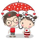 Leuk Jongen en meisje met paraplu royalty-vrije illustratie
