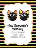 Leuk kaartmalplaatje van een verjaardagsuitnodiging stock fotografie