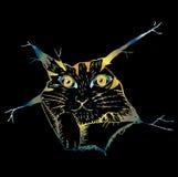 Leuk kat peering Schetsmatige stijlillustratie Royalty-vrije Illustratie