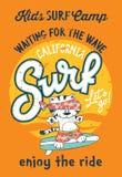 Leuk katje het surfen kamp royalty-vrije illustratie
