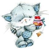 Leuk katje watercolor royalty-vrije illustratie