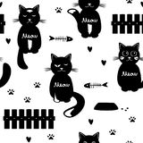 Leuk katten naadloos patroon Rebecca 36 vector illustratie