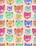 Leuk katten naadloos patroon voor kinderen Stock Afbeelding