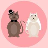 Leuk kattenhuwelijk in vector Stock Foto's