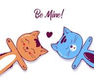 Leuk Kattenkarakter in liefde met hart Geïsoleerdj op witte achtergrond Hand getrokken kunstillustratie in beeldverhaal, krabbel vector illustratie