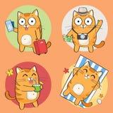 Leuk kattenkarakter op de zomervakantie Stock Illustratie