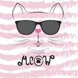 Leuk kattensilhouet Zwart hoofd van Kat met het van letters voorzien van woord` Miauw ` Vector Illustratie