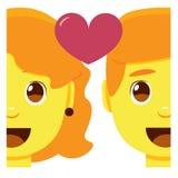 Leuk kawaiipaar die geïsoleerd emoji kleurrijk glimlachen vector illustratie