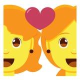 Leuk kawaiipaar die geïsoleerd emoji kleurrijk glimlachen stock illustratie