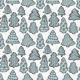 Leuk Kerstmis naadloos patroon met Kerstboom en decorat Stock Afbeelding
