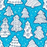 Leuk Kerstmis naadloos patroon met Kerstboom en decorat Stock Fotografie