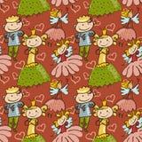Leuk kinderlijk naadloos patroon met weinig fee, prins en PR Royalty-vrije Stock Fotografie
