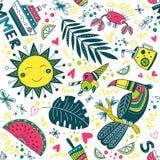Leuk kleurrijk de zomer tropisch patroon Stock Afbeelding