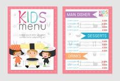 Leuk kleurrijk het menu vectormalplaatje van de jonge geitjesmaaltijd, jonge geitjesmenu, Leuk kleurrijk het menuontwerp van de j Stock Illustratie