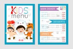 Leuk kleurrijk het menu vectormalplaatje van de jonge geitjesmaaltijd, jonge geitjesmenu, Leuk kleurrijk het menuontwerp van de j Royalty-vrije Stock Fotografie
