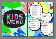 Leuk kleurrijk het menumalplaatje van maaltijdjonge geitjes royalty-vrije illustratie