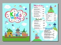 Leuk kleurrijk het menumalplaatje van maaltijdjonge geitjes vector illustratie
