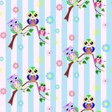 Leuk kleurrijk uilen naadloos patroon Royalty-vrije Stock Foto's